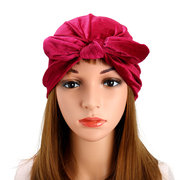 Womens Velvet Elastic Head Band Hair Accessory Bow-knot Beanie Hat UV Protect Sun Hat