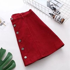 Solid color high waist button Corduroy  skirt