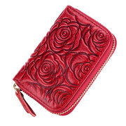 Women Rose Embroidery Genuine Leather Wallet Purse Card Holder