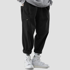 Men's Street Style Elastic Waist Double Pocket Loose Cargo Pants