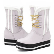 Large Size Stripe Warm Fur Lining Mid Calf Lace Up Winter Platform Boots