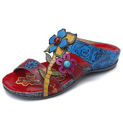 SOCOFY Bohemia Genuine Leather Splicing Hand Painted Floral Adjustable Hook Loop Soft Sandals