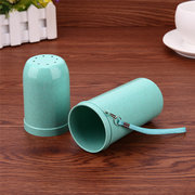 Dual Use Tooth Mug Wheat Straw Portable Toothbrush Toothpaste Holder Double Cups Container for Trave