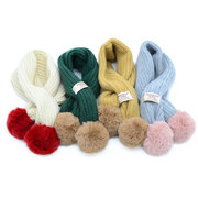 Solid Color Knit Kid Warm Scarves Scarf with Ball Decor