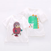 Animal Pattern Girls Short Sleeve Soft Baumwolloberteil für 1J-7J