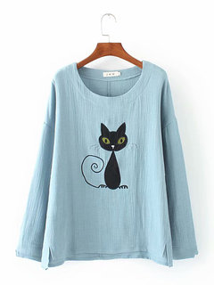 Embroidery Cat Long Sleeve T-shirt for Women