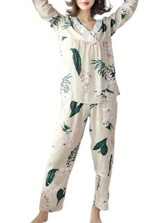 Women's Pajamas Set Plus Size Long Sleeve V Neck Top Home Pants Comfy Suit