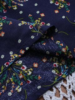 Chemisier à manches 3/4 plissé Plus à imprimé floral vintage