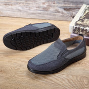 Large Size Men Mesh Cloth Hollow Out Breathable Flat Casual Shoes