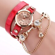 Fashion Quartz Wristwatch Gold Chain Leather Strap Bracelet Watches Sweet Jewelry for Women