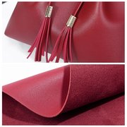 Women String PU Leather Bucket Bags Solid Leisure Crossbody Bag