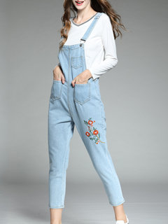 Embroidery Floral Denim Casual Jumpsuit