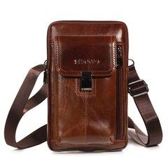 Men Genuine Leather Waist Bag Shoulder Bag Phone Bag