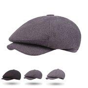 Men Vintage Cotton Beret Hat Octagonal Newsboy Cap Winter Casual Cabbie Cap