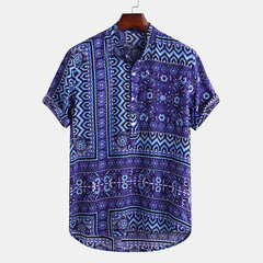 Mens Ethnic Style Printed Floral Loose Short Sleeve 100% Cotton Henley Shirt