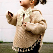 Cute Bowknot Girls Long Sleeve Tassel Hoodies Knitwear Sweaters For 2Y-11Y