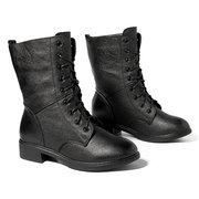 Bottes de moto en cuir noir à lacets pour femmes