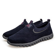 Uomo Suede Soft Indossabile Elastico Slip On Outdoor Walking Shoes