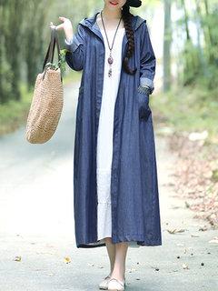 معطف الدينيم بأكمام طويلة مقنع للنساء