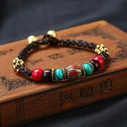الأصلي العرقية المصنوعة يدويا غريبة النيبالية الخرزة الشمع حبل سوار Songshi التبت المجوهرات فو المرأة