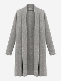 متماسكة عارضة لون خالص طويل معطف