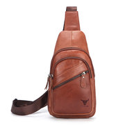 Men Casual Genuine Leather Chest Bag Cowhide Sling Bag