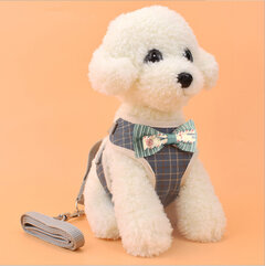 Pet Strap Leash Dog Small Dog Vest-Style Bow Evening Dress Chest Strap Dog And Cat Universal