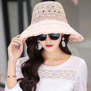 New Wide Brim Faltbares Stroh Hut Mädchen Streifen Geschnitzt Atmungsaktiv Sonnenschutz Mode Kappen