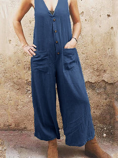 Summer Sleeveless V-neck Button Pockets Loose Jumpsuit