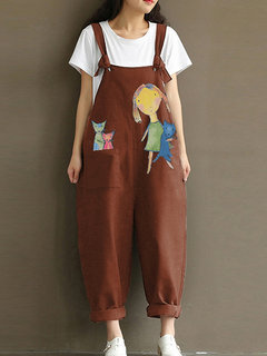 Print Cartoon Pocket Bib Cargo Cotton Jumpsuit
