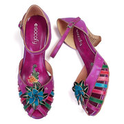 SOCOFY Hand Painted Floral Colorful Genuine Leather Splicing Comfortable Winebowl Heel Sandals