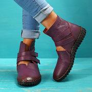 Plus حجم النساء Soft تنفس جلد طبيعي حلقة هوك الأحذية المسطحة