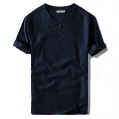 Mens Chinese Style Cotton Linen Solid Color Vintage Casual Summer T shirt