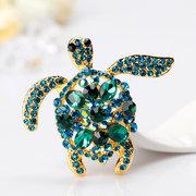 Lindo Verde Azul Rhinestone Tortuga Broches Moda Tortuga Animal Broches Pins Accesorios del bolso