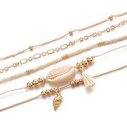 البوهيمي متعدد الطبقات الذهب سوار مجموعة 5PCS شل محارة الخرز سلسلة سحر سوار للنساء