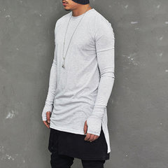 Mens Fashion Irregular O-neck Long Sleeve T Shirt Regular Fit Casual Solid Color Tops