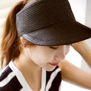 Women Summer Wide Brim Empty Top Caps Casual Foldable Visors Beach Straw Hat