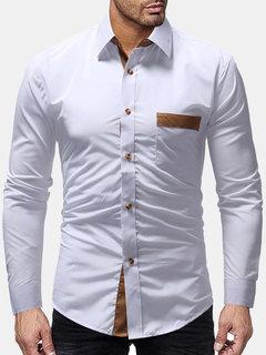 Бизнес хлопок отложным воротником лоскутное нагрудный карман с длинным рукавом повседневная Рубашка для мужчин