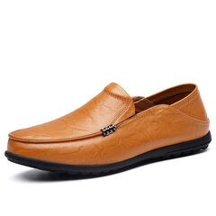 Men Large Size Soft Cow Leather Mental Decoration Loafers Casual Shoes
