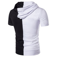 Mens Summer Hit Color Short Sleeve Slim Fit Casual Cotton Hooded T-shirt