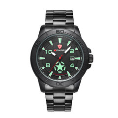 LONGBO Calendar Mens Watches Stainless Steel Military Watches Luminous Waterproof Watches for Men