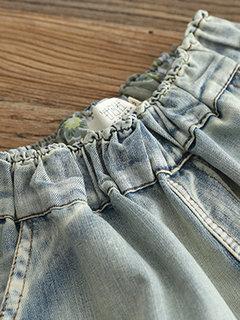 Винтаж Патч вышитый эластичный пояс, гарем, джинсовая ткань