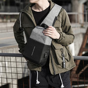 KAKA Chest Bag Oxford Sling Pack Casual Multifunction USB Charging Backpack Men's Crossbody Bags