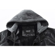 Men's Detachable Hooded Earphones Drawstring Leather Fleece Warm Stand Collar Jacket