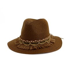 Women Sunshade Tassel Straw Hat Outdoor Seaside Sun Visor Solid Color Jazz Hat