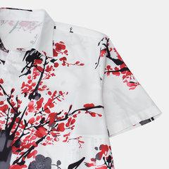 Hombres estilo chino pintura floral impreso dar vuelta abajo cuello camisas de manga corta ocasionales
