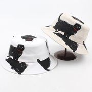 Mujer Cotton Fisherman's Sombrero Vogue Wild Casual Travel Protector solar Gato Casquillo del cubo