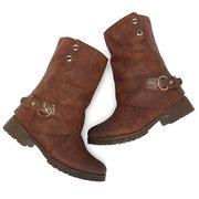 Large Size Buckle Zipper Vintage Boots