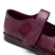 Chaussures plates en cuir véritable souple à bout rond à velcro pour femme