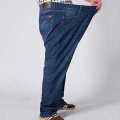 Plus Size Casual Business Straight Legs Loose High Elastic Jeans for Men